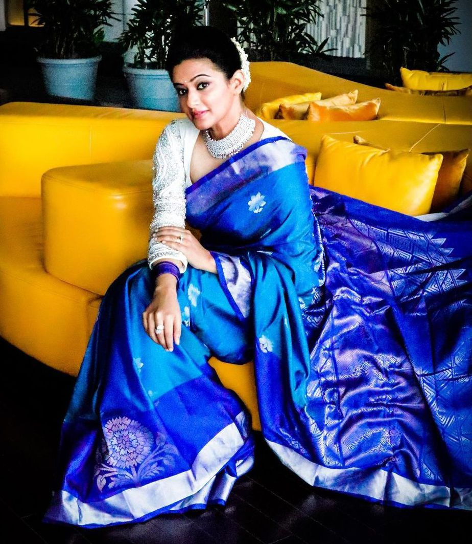 priyamani in blue silk saree diwali 2020 (1)