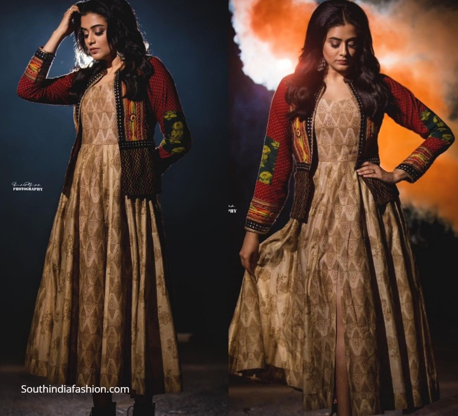 priyamani in ethnic dress with a bohemian jacket