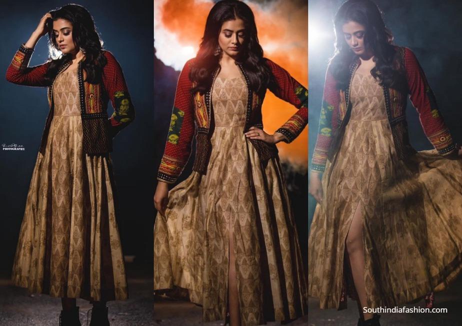 priyamani in ethnic dress with bohemian jacket