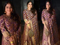 punarnavi bhupalam in a gold purple anarkali dress for Maa Vintha Gaadha Vinuma event