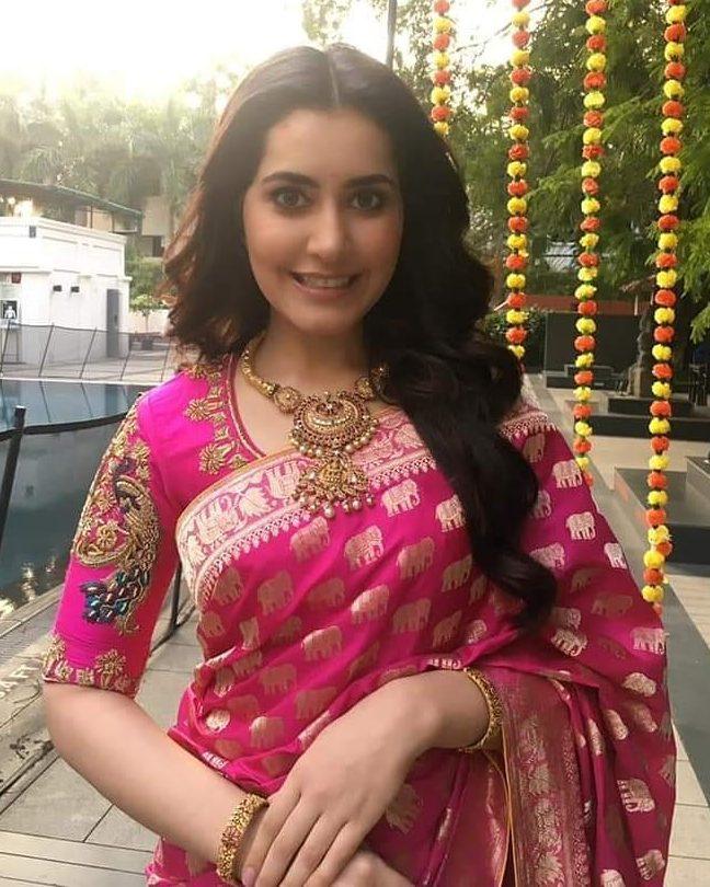 raashi khanna in pink silk saree dhanteras 2020