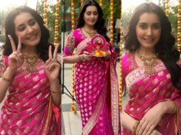 raashi khanna in pink silk saree for dhanteras 2020
