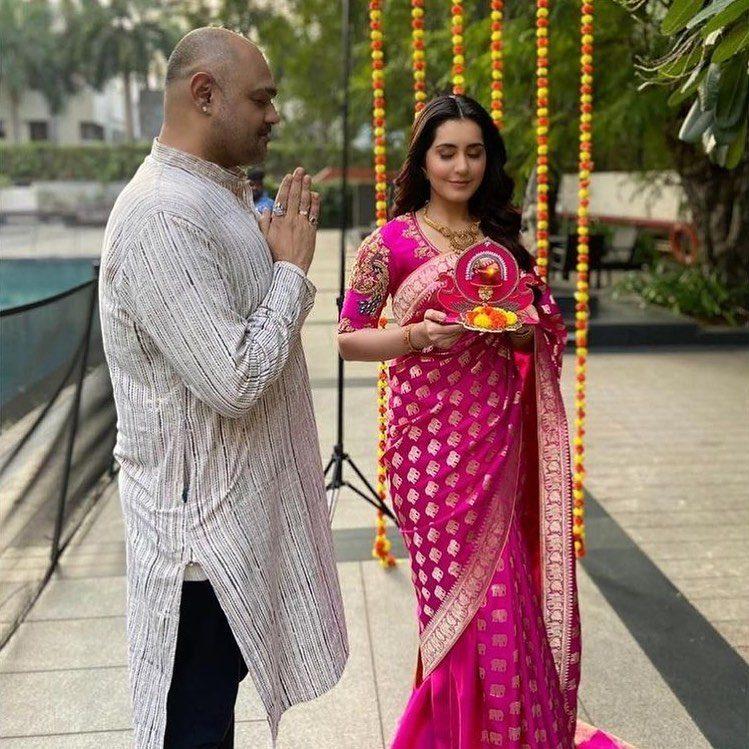 raashi khanna pink saree diwali 2020 shravan kumar