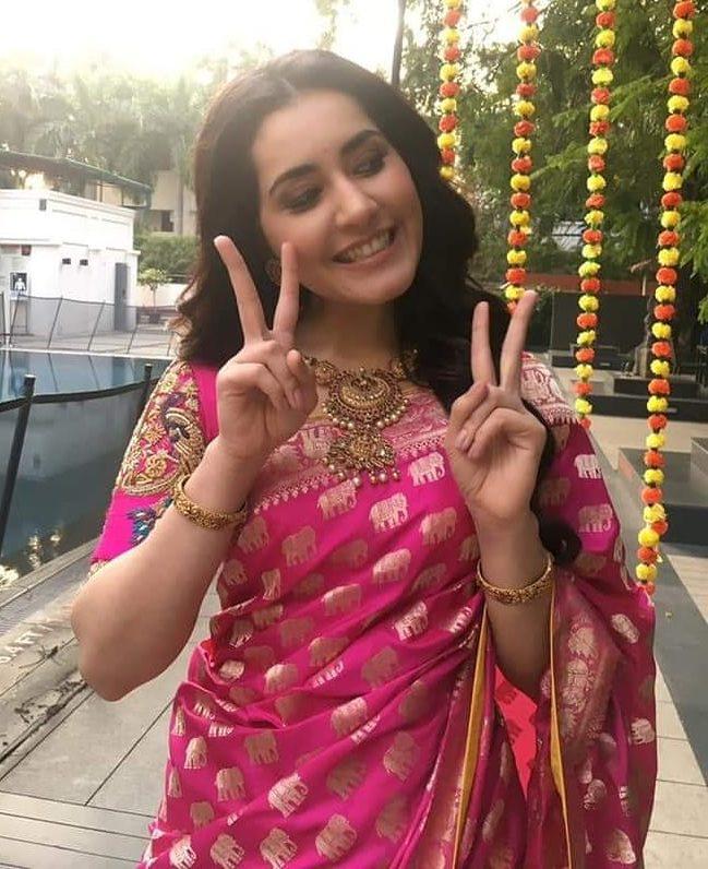 raashi khanna pink silk saree shravan kumar