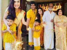 rajinikanth family celebrating diwali 2020