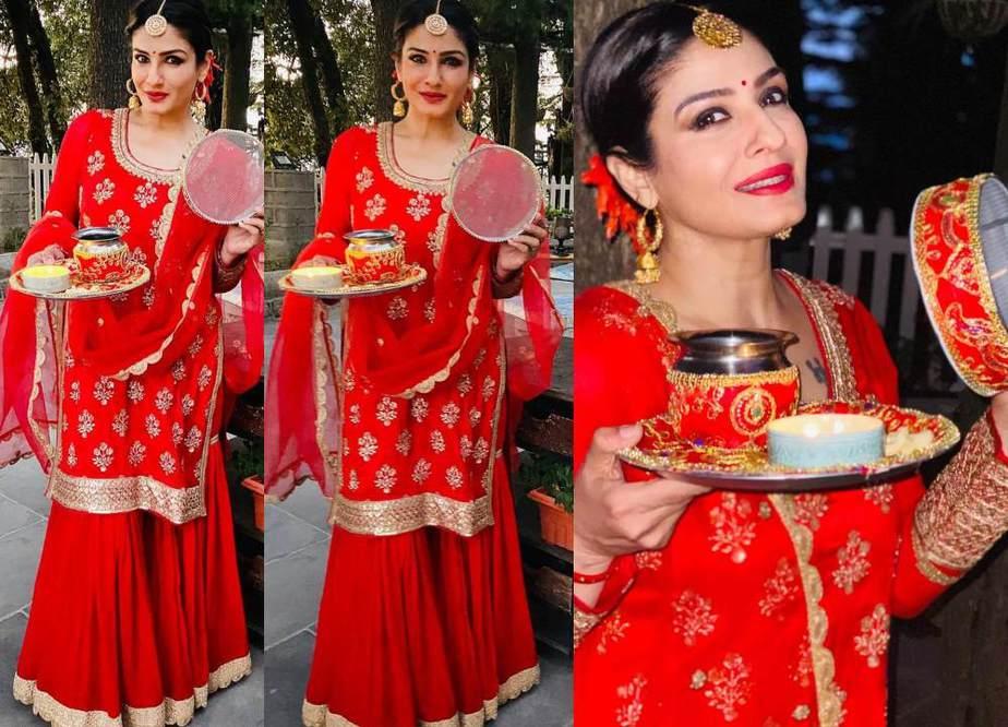 raveena in a red salwar-sharara for karwa chauth-featured image