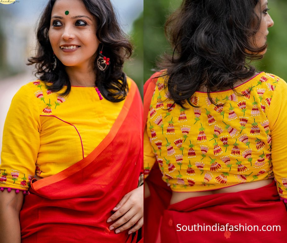 red and yellow blouse with back floral design