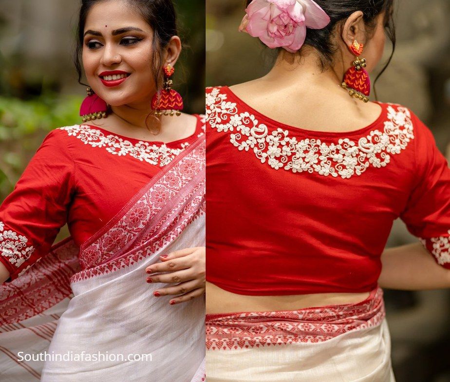 red boatneck blouse with floral embroidery work