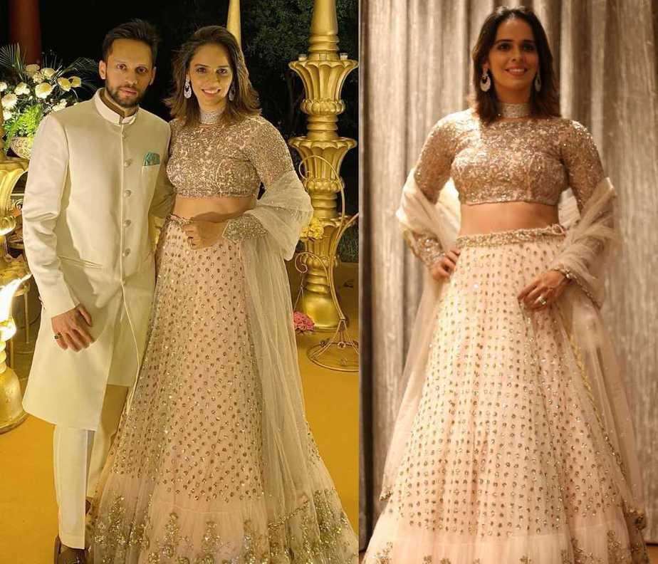 saina ivory lehenga for friend's wedding reception