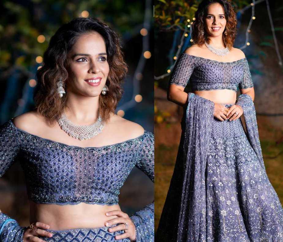 saina nehwal blue off shoulder blouse blue lehenga by jade