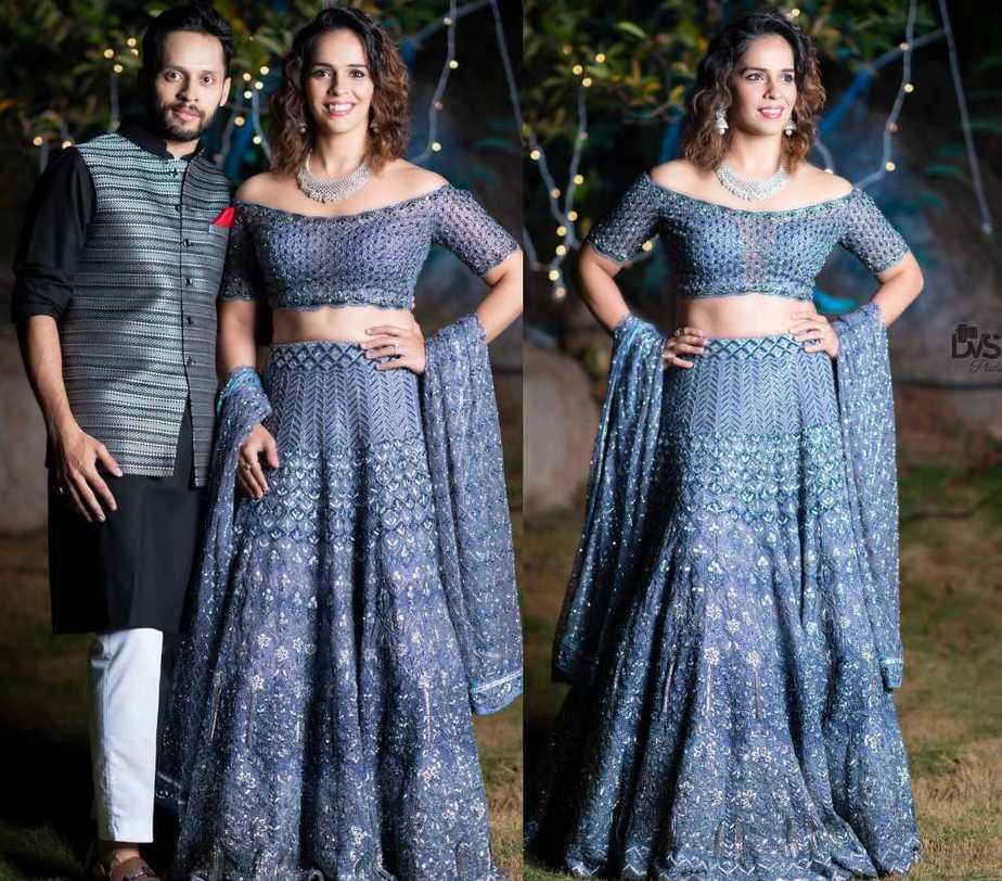 saina nehwal blue off shoulder blouse lehenga by jade