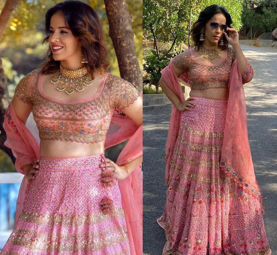 saina nehwal pink lehenga for friend wedding