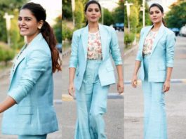 samantha akkineni in aqua blue pant suit for samjam