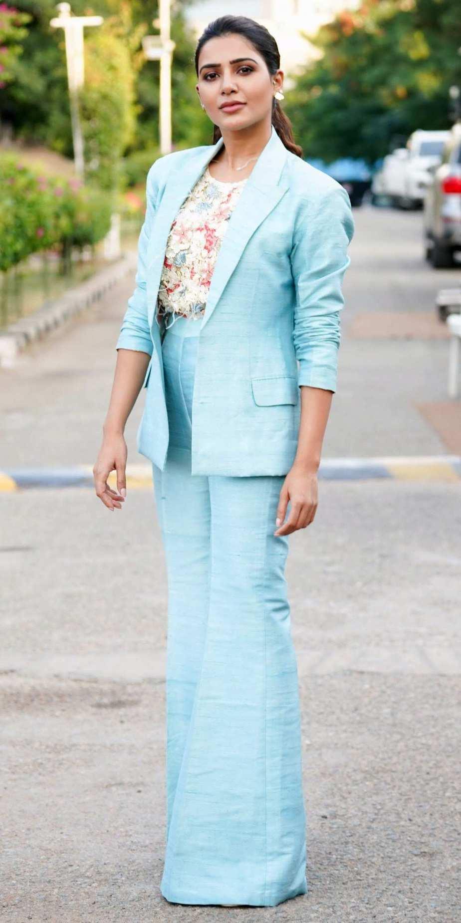 samantha akkineni in blue pantsuit for samjam