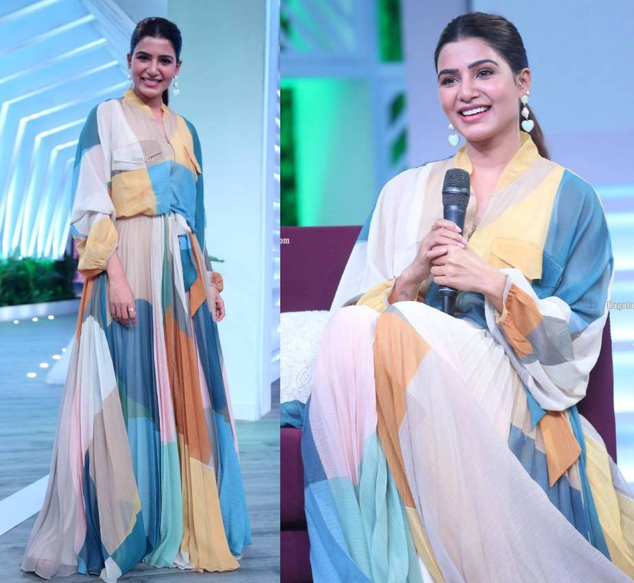 samantha akkineni maxi dress at sam jam talk show launch
