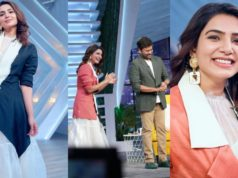 samantha in a double colour waist coat and white dress by aroka for sam jam episode featured