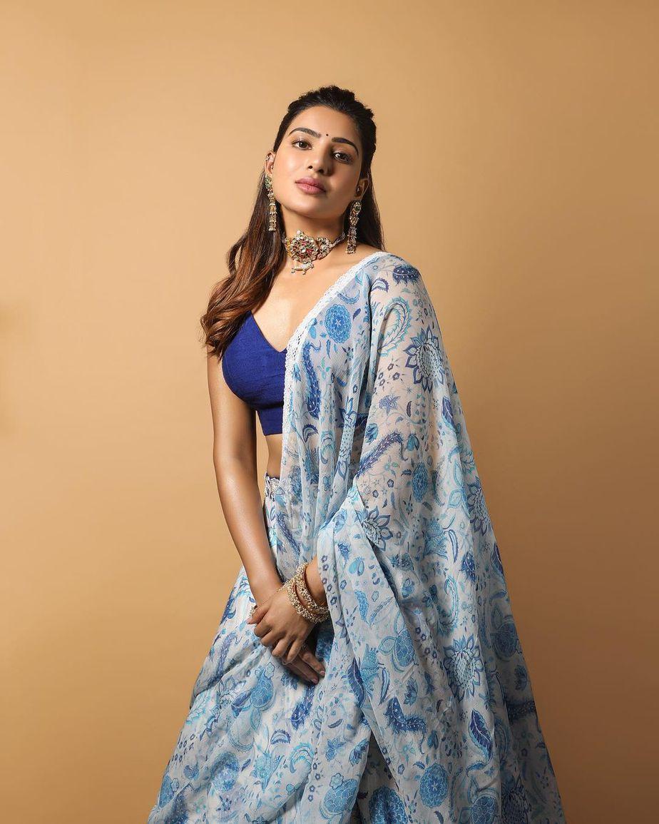 Samantha Prabhu Diwali look in a Mrunalini Rao lehenga