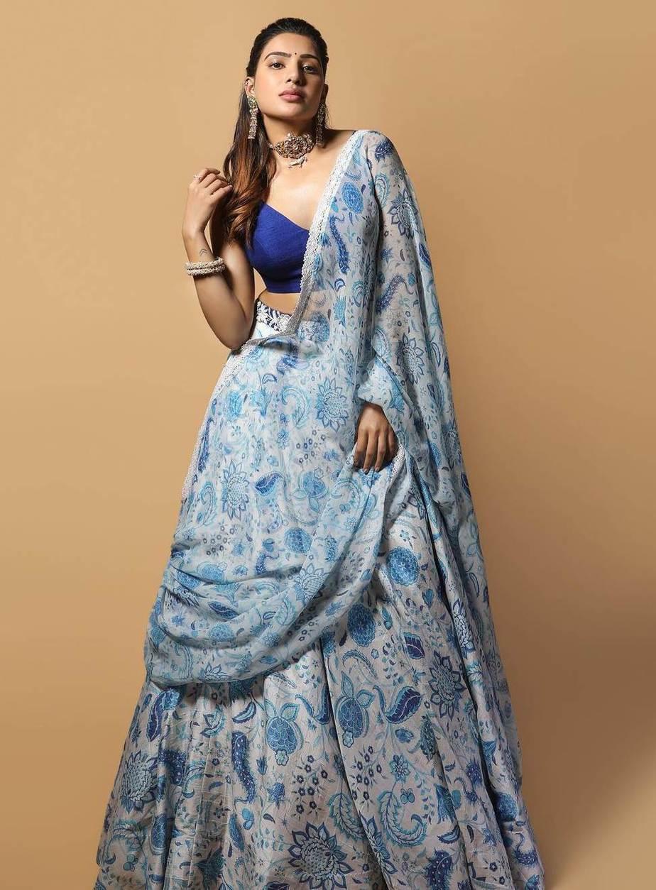 Samantha Prabhu in a Mrunalini Rao lehenga