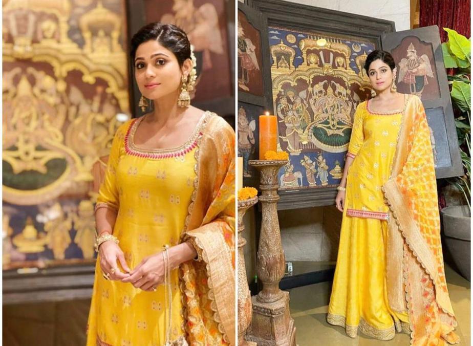 shamita shetty in yellow sharara suit by bhumika grover