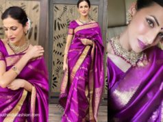 shilpa reddy in purple bridal saree