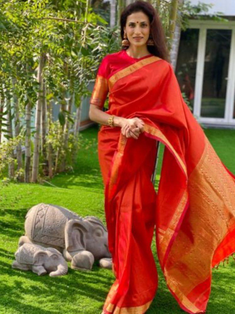 shilpa reddy red saree (1)