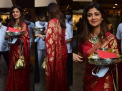 shilpa shetty in red saree for karva chauth