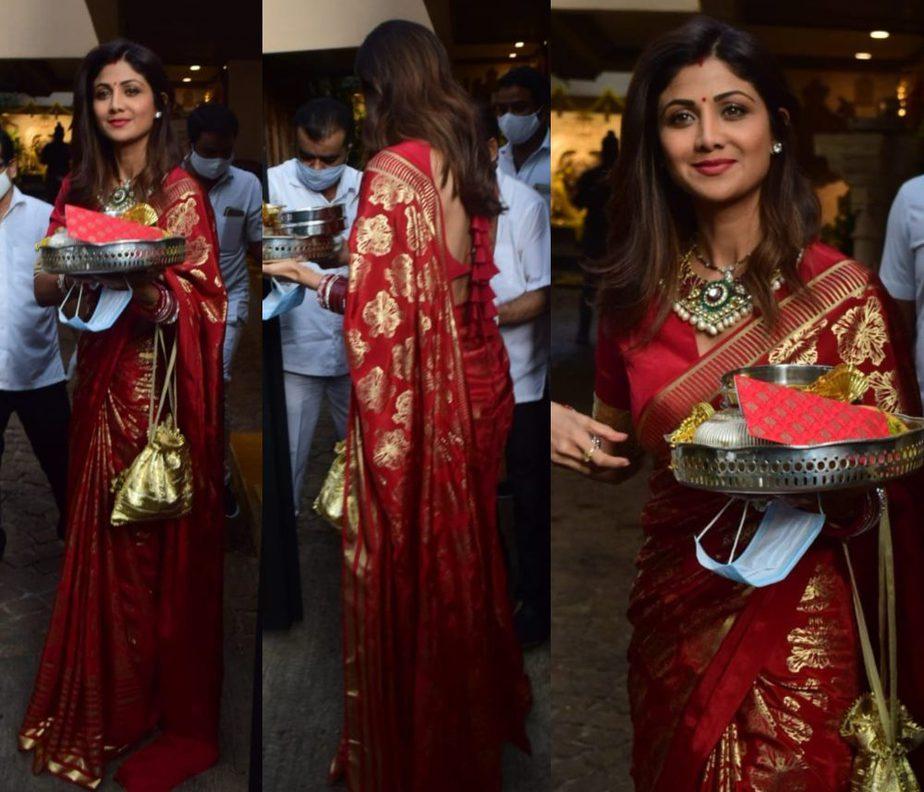 shilpa shetty in red saree for karva chauth