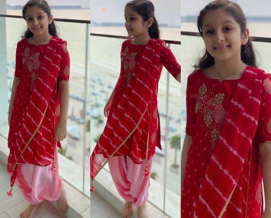 sitara ghattamaneni in a red salwar suit for diwali 2020