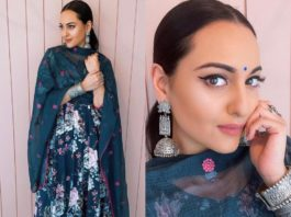sonakshi sinha in blue anarkali by gulaboo jaipur