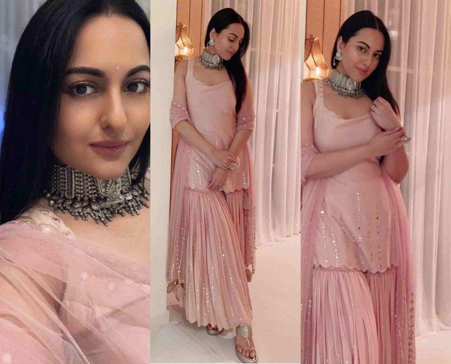 sonakshi sihna in pink sharara in sukriti and aakriti