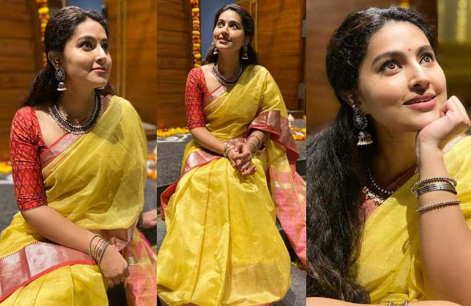 south indian actress sneha yellow saree