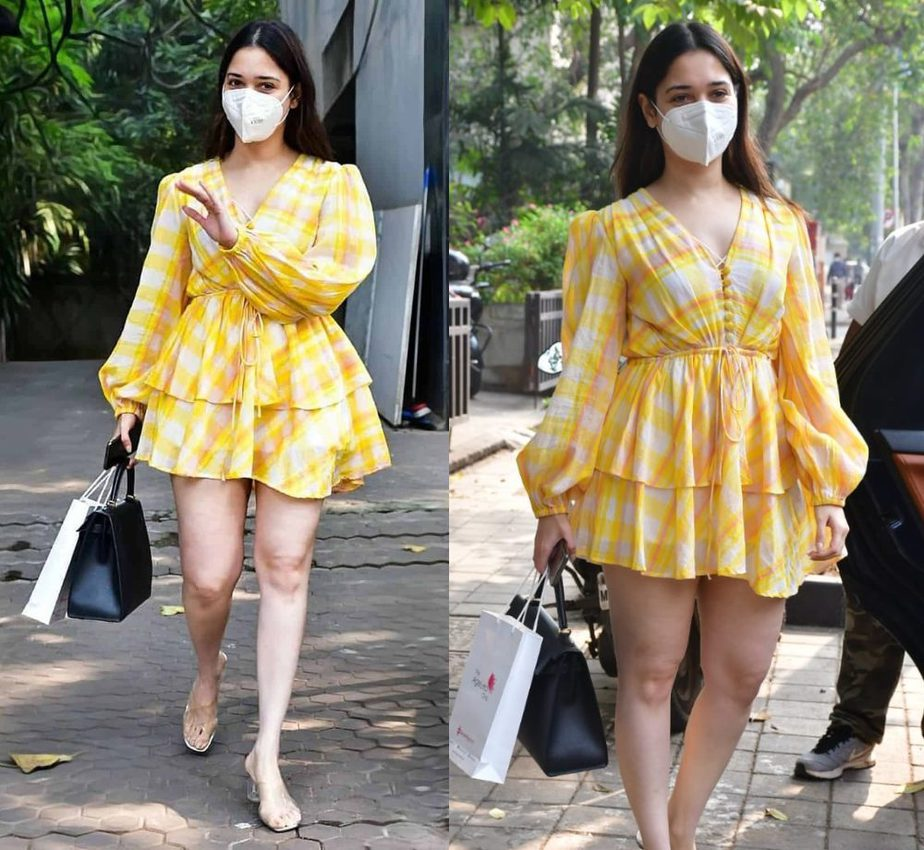 tamannaah bhatia in a yellow mini dress in mumbai