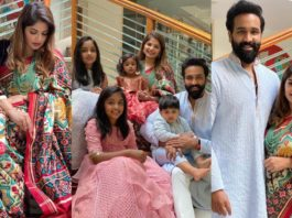 vishnu and viranica with family in ethnic wear by maison ava