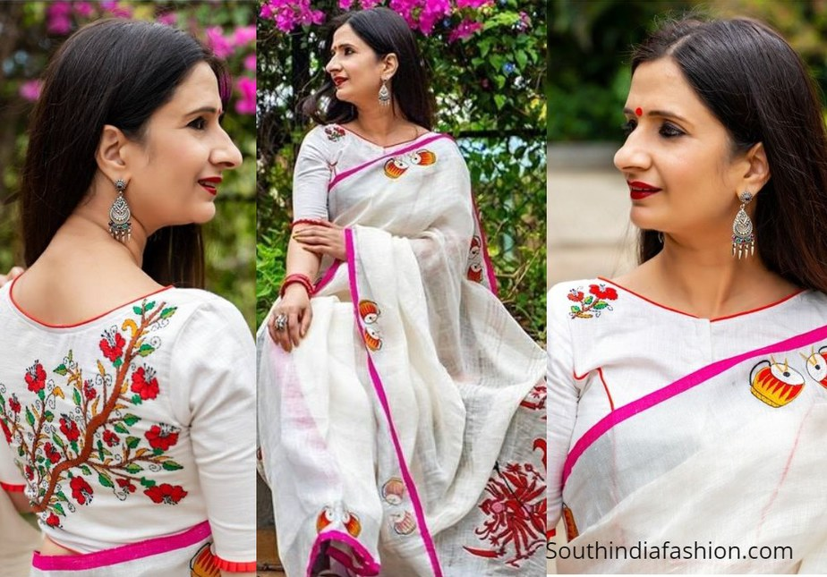 white saree with pink floral design blouse