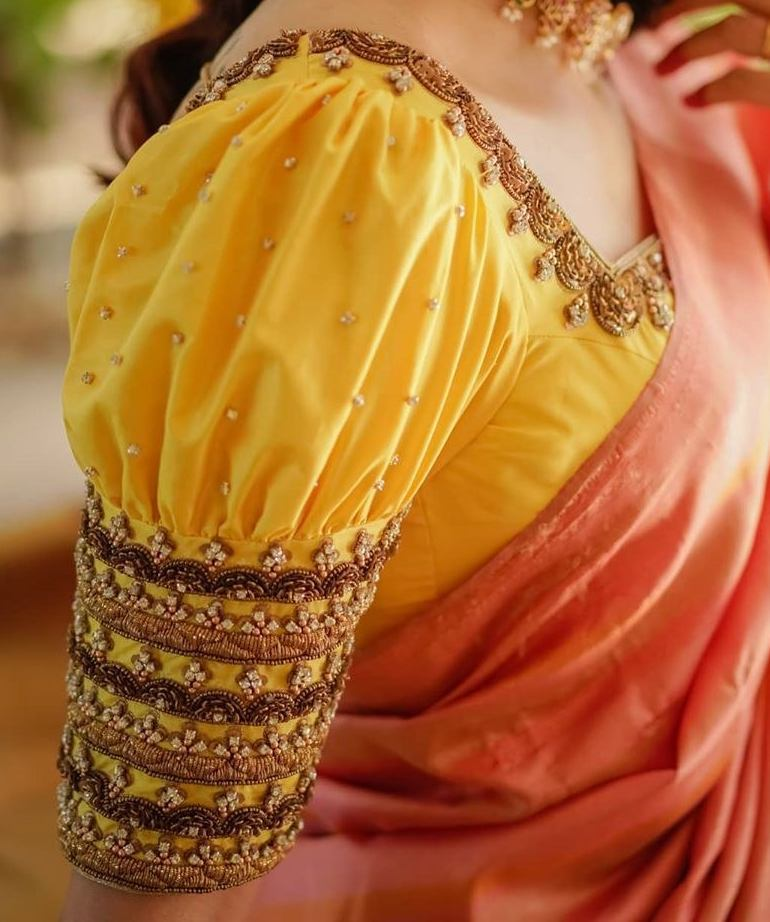 yellow bridal blouse with pearl work and puff sleeves
