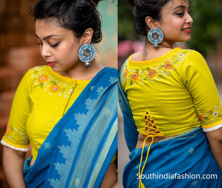 yellow floral blouse with embroidery design