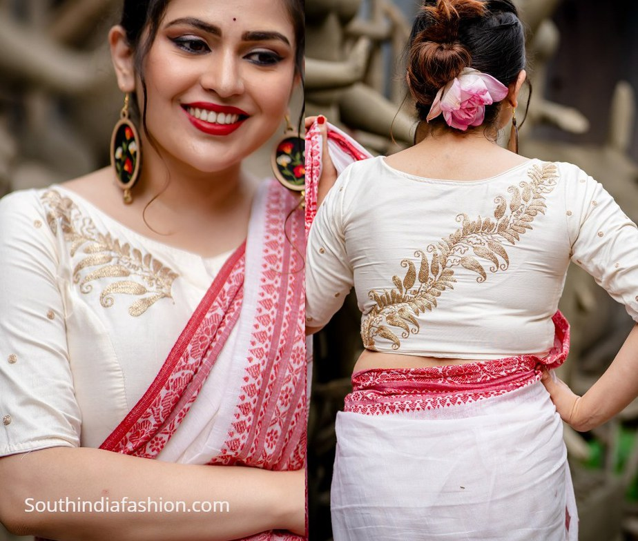 zari work cholis on white fabric from motif by chandrayee