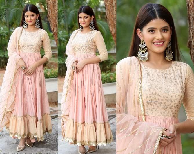 Anahita Bhooshan in pink anarkali at Seethayanam Movie Trailer Launch