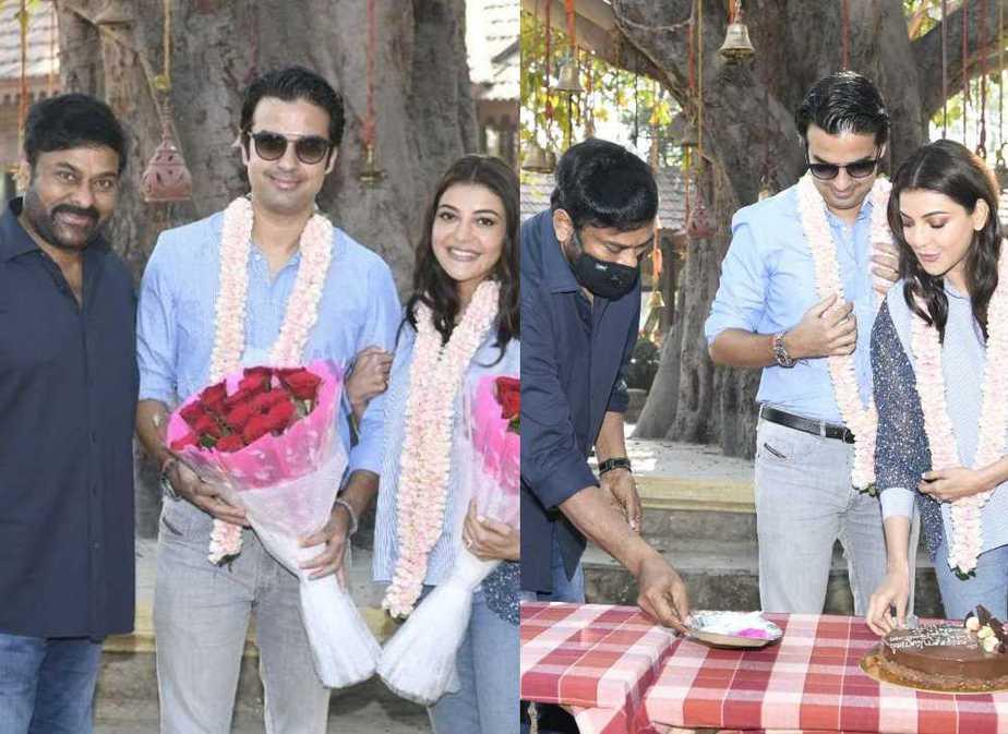 Chiranjeeevi welcomes kajal aggarwal and gautam kitchlu on acharya sets featured