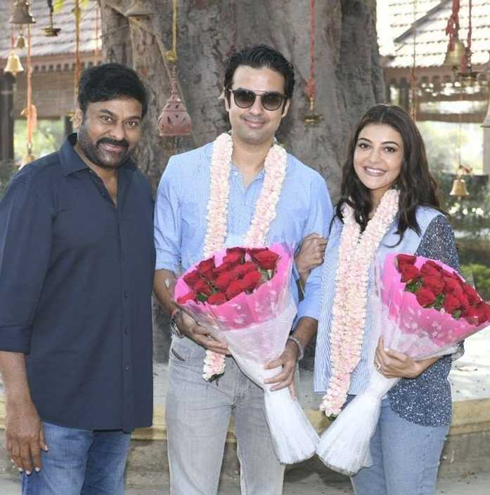 Chiranjeeevi welcomes kajal aggarwal and gautam kitchlu on acharya sets