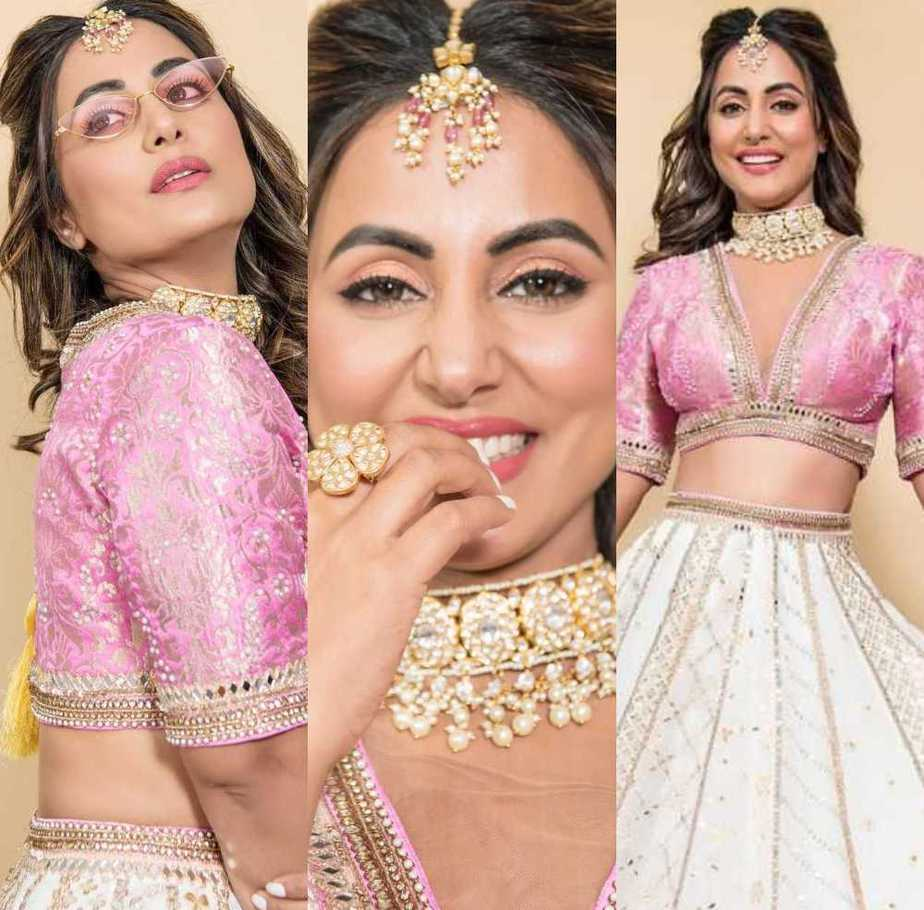 Hina Khan in kenferns pink and ivory lehenga featured