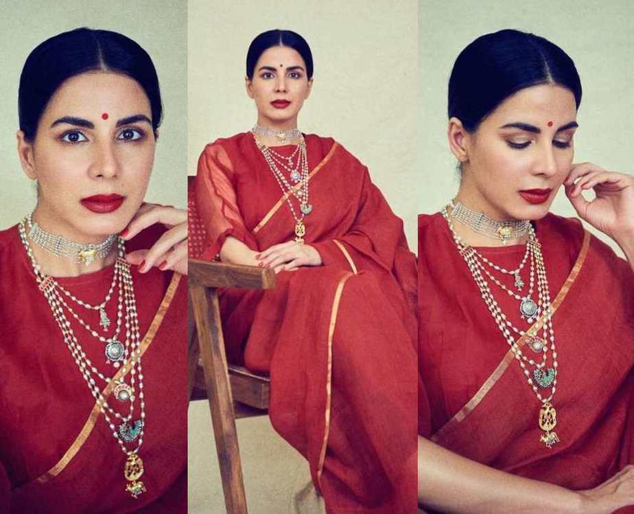 Kirti kulhari in chilli red saree by anavila featured