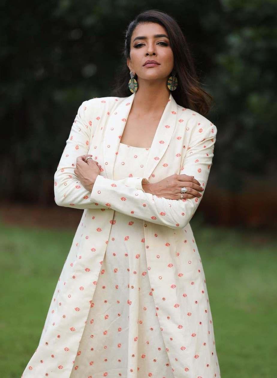 Lakshmi manchu in a white ensemble by Shilpa reddy