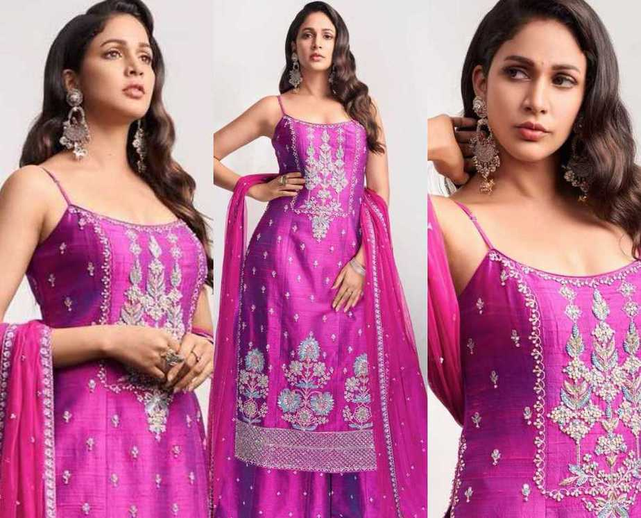 Lavanya Tripathi in violet anita dongre set featured