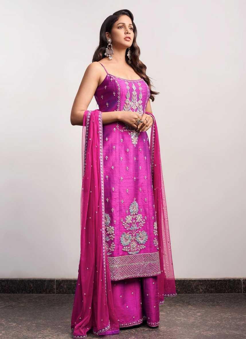 Lavanya Tripathi in violet anita dongre set