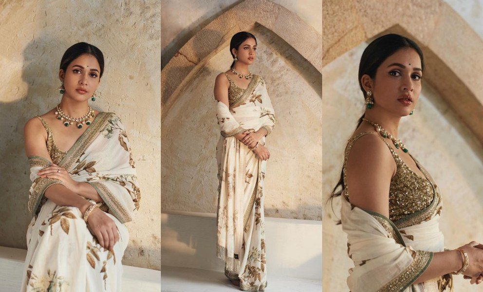 Lavnaya Tripathi in white saree by Sabyasachi