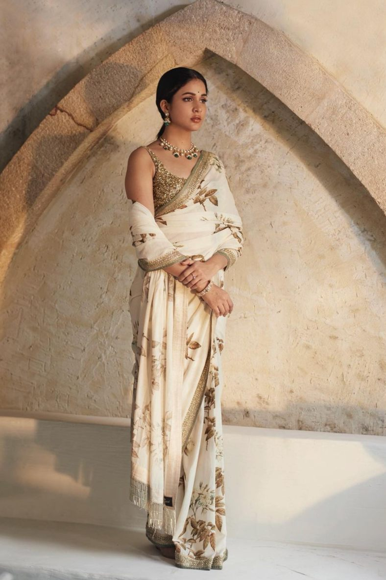 Lavnaya Tripathi in white saree by Sabyasachi