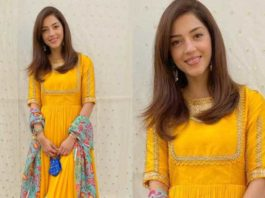 Mehreen pirzadaa in a yellow anarkali by ihtri clothing feautured