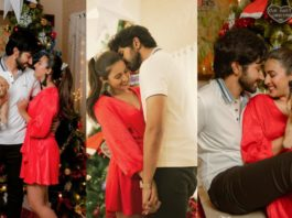 Niharika Konidela and Chaitanya celebrating Christmas in red and white outfits