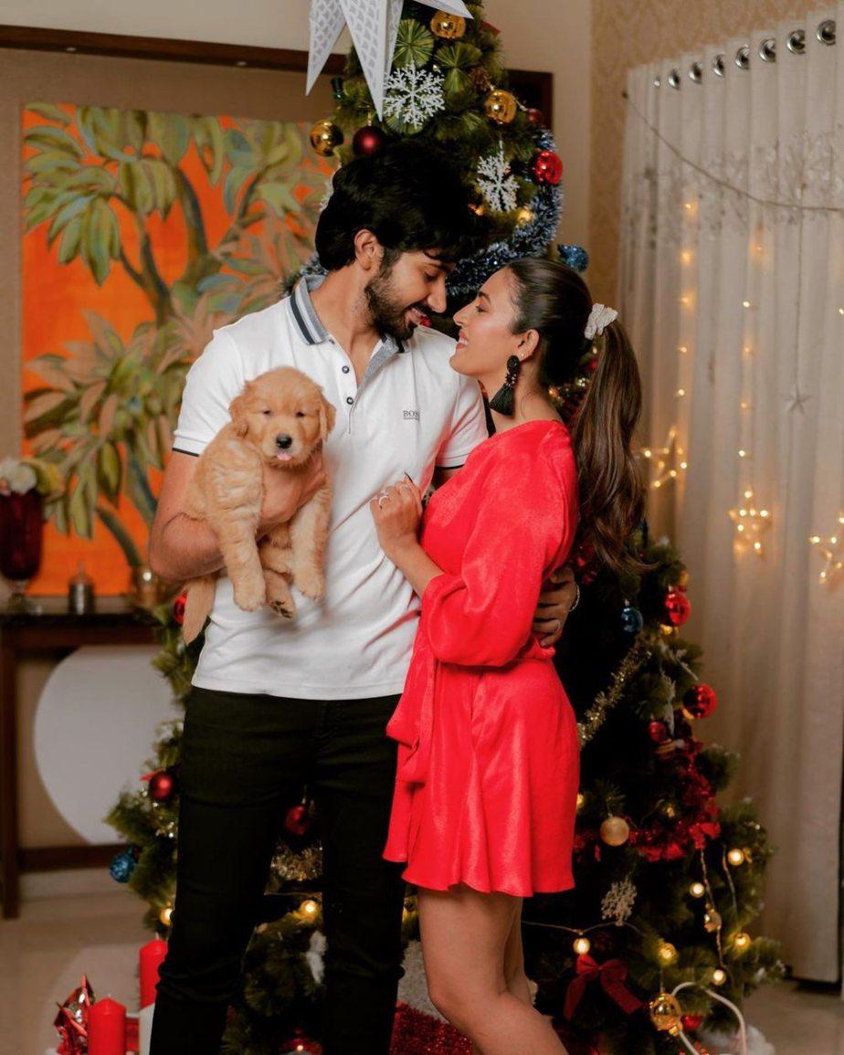 Niharika Konidela and Chaitanya celebrating Christmas in red and white outfits